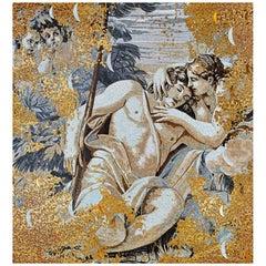 Stylish Artistic Mosaic Handmade on Aluminum Panel Gold Leaf Customizable