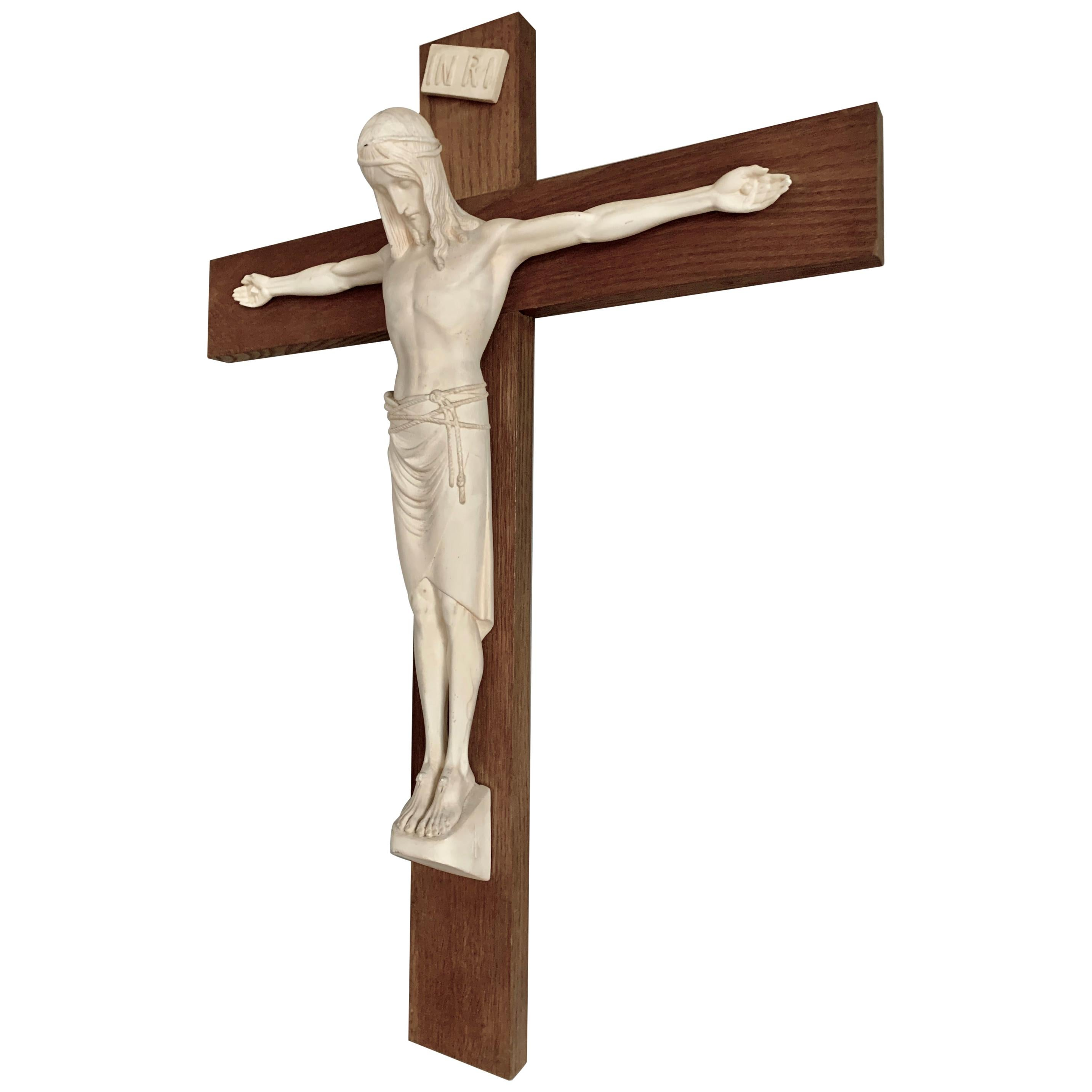 Stylish Arts & Crafts Crucifix with Stunning Antique Handcrafted Jesus Sculpture