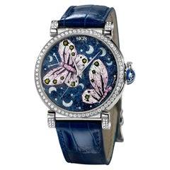 Stylish Automatic Watch Silver White Diamonds Alligator Strap MicroMosaic