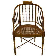 Stylish Baker Faux Bamboo and Cane Regency Style Armchair