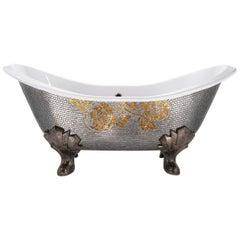 Stylish Bathtub Hand Decorated with Mosaic Gold Leaf on Back