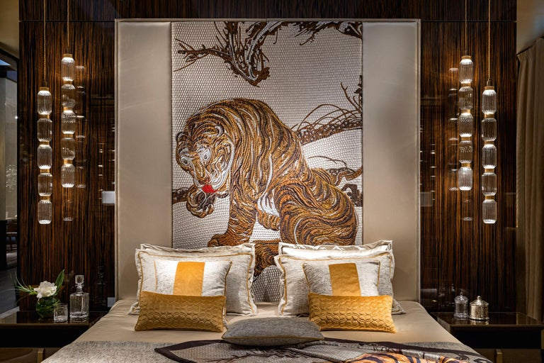 Modern Stylish Bed Headboard Fabric or Leather Upholstery Tiger Tapestry Middle Panel For Sale