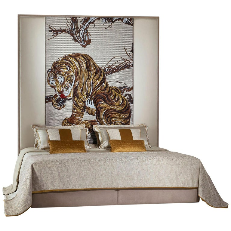 Stylish Bed Headboard Fabric or Leather Upholstery Tiger Tapestry Middle Panel For Sale