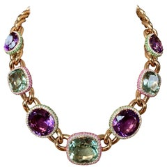 Stylish Big Bold Statement Necklace with Various Colored Stones