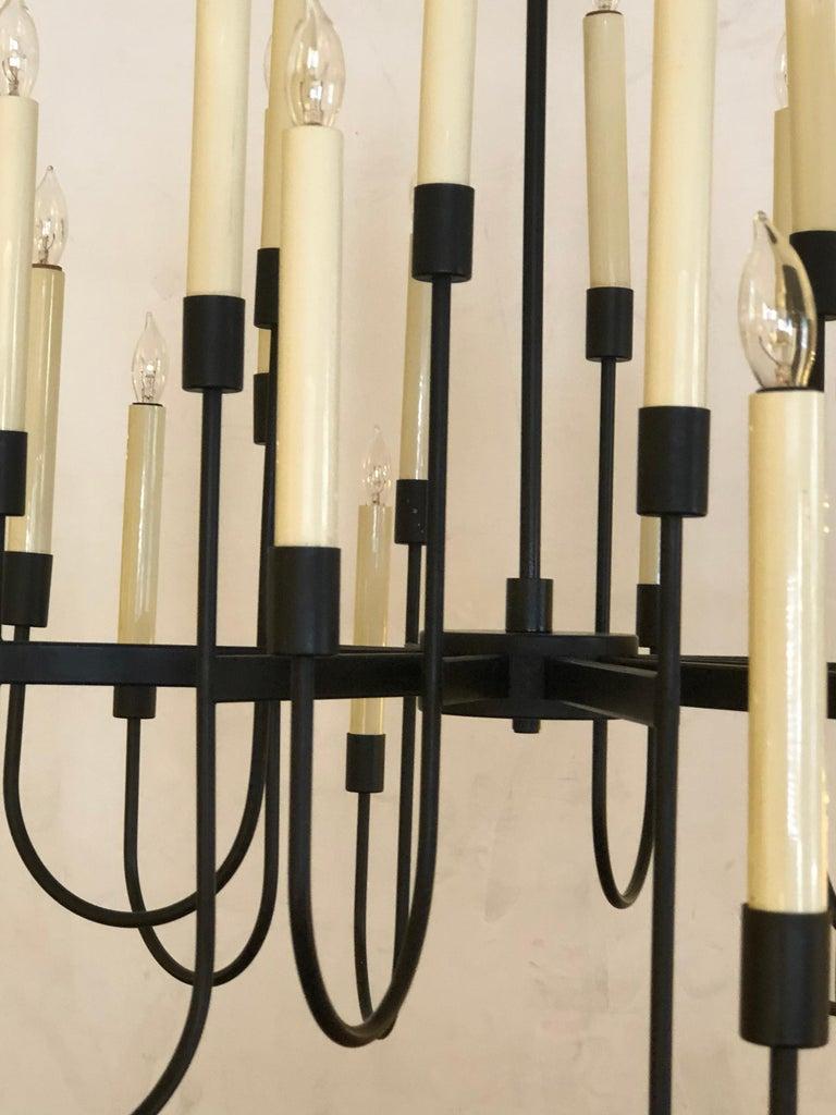 Mid-Century Modern Stylish Black Enameled Metal 12-Arm Candelabra Style Chandelier; Tommi Parzinger For Sale
