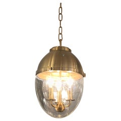Stylish Brass and Glass Egg Shaped Pendant Chandelier