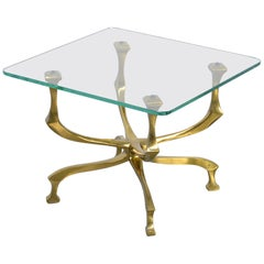 Stylish Bronze Side Table by Willy Daro