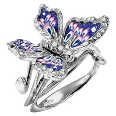 Stylish Butterfly Ring White Diamond White Gold Hand Decorated with Micro Mosaic