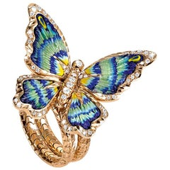 Stylish Butterfly Ring White Diamonds Yellow Gold Hand Decorated Micro Mosaic