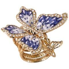 Stylish Butterfly Ring White Diamonds Yellow Gold Hand Decorated Micro Mosaic