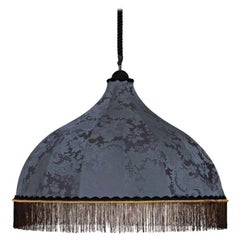 Stylish Ceiling Lamp in Silk Fabric Black Red or Yellow Fringes in Mixed Viscose