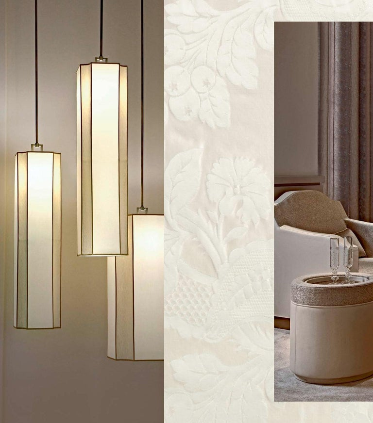 Modern Stylish Ceiling Lamp Lampshade in Fabric Metal Frame Antique Bronze Finish For Sale
