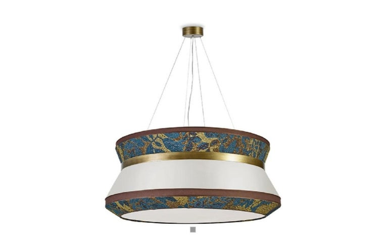 Stylish Ceiling Lamp with Shade in Fabric and Metal frame in Burnished Brass In New Condition For Sale In London, GB