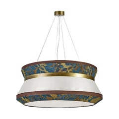 Stylish Ceiling Lamp with Shade in Fabric and Metal frame in Burnished Brass
