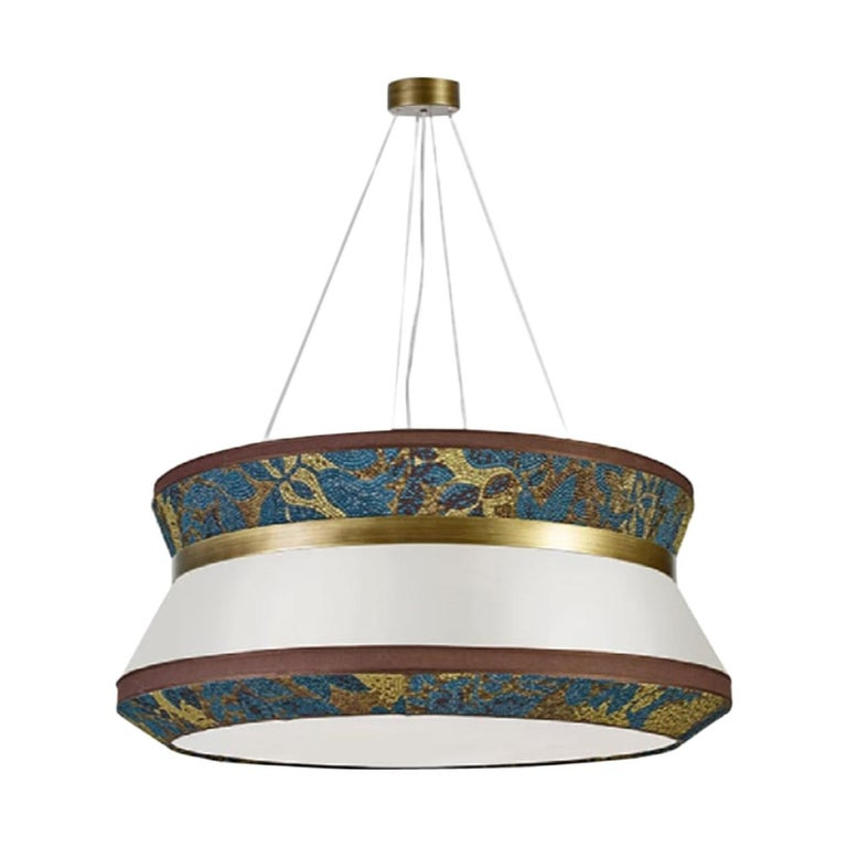 Stylish Ceiling Lamp with Shade in Fabric and Metal frame in Burnished Brass For Sale