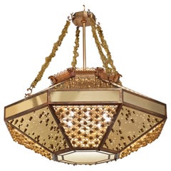 Stylish Chandelier with Frame Metal Mesh and Decorative Insert in Brass