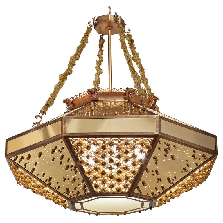 Stylish Chandelier with Frame Metal Mesh and Decorative Insert in Brass For Sale