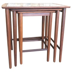 Stylish Classic Vintage Danish Mid-Century Modern Nesting Tables in Teak