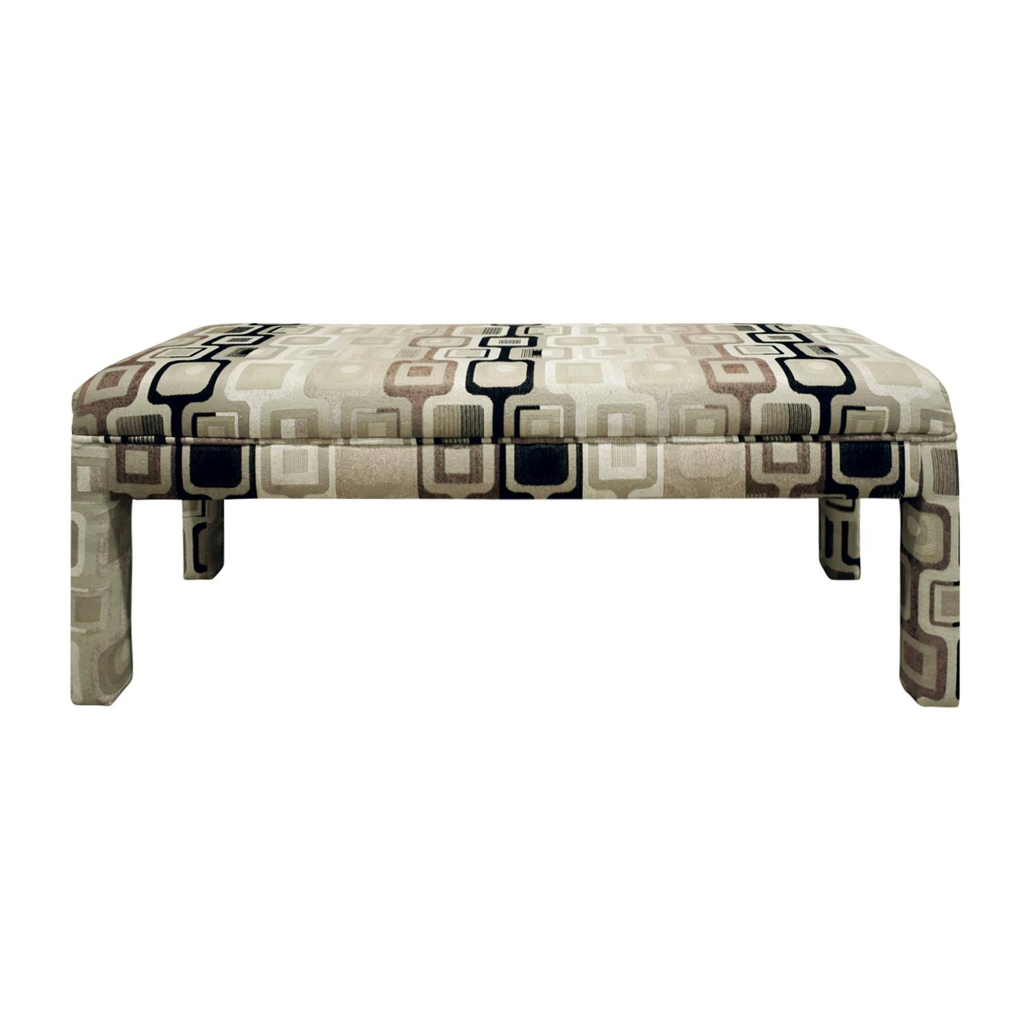 Stylish Clean Line Upholstered Bench 1970s