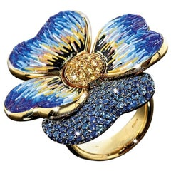 Stylish Cocktail Ring Yellow Gold Yellow & Blue Sapphires Decorated Micro Mosaic