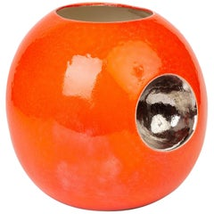Stylish Contemporary Orange Glazed Globular Vase Signed Morgan Dated 2004