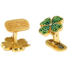 Stylish Cufflinks Yellow Gold White Diamonds hand Decorated with MicroMosaic