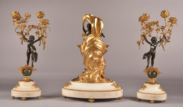 Stylish Cupido Clock Set, Gilt & Patinated Brons and White Marble, Napoleon III For Sale 5