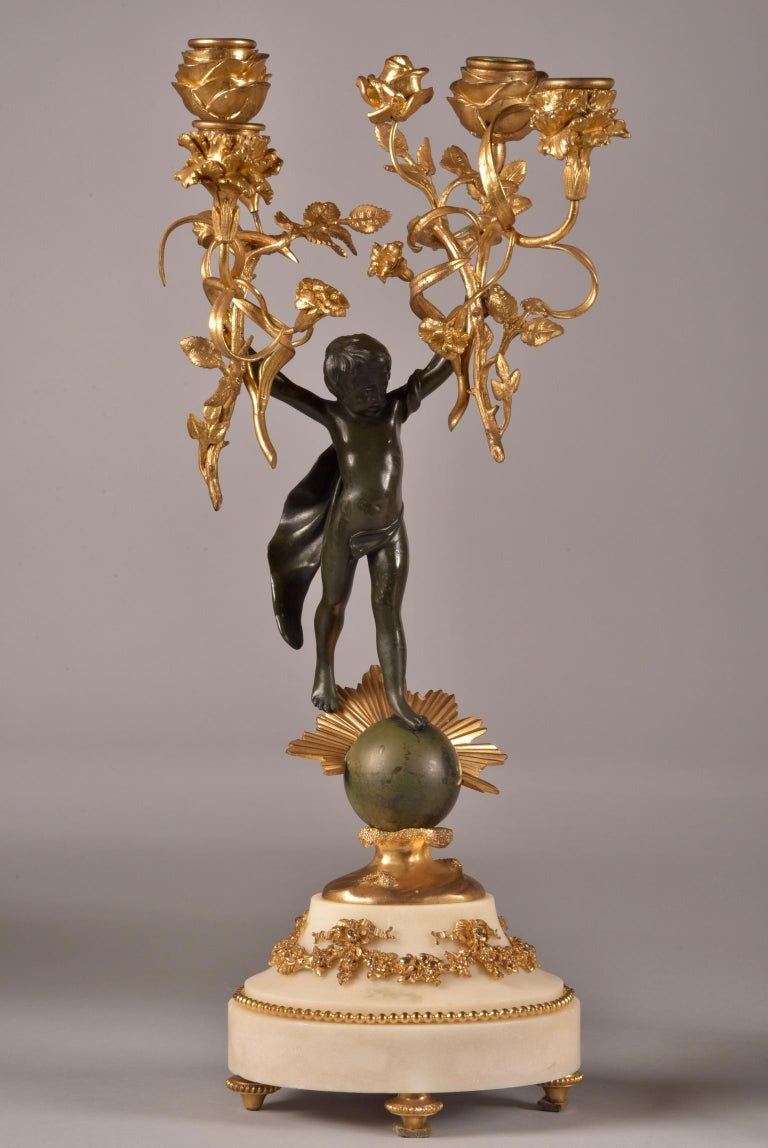 French Stylish Cupido Clock Set, Gilt & Patinated Brons and White Marble, Napoleon III For Sale