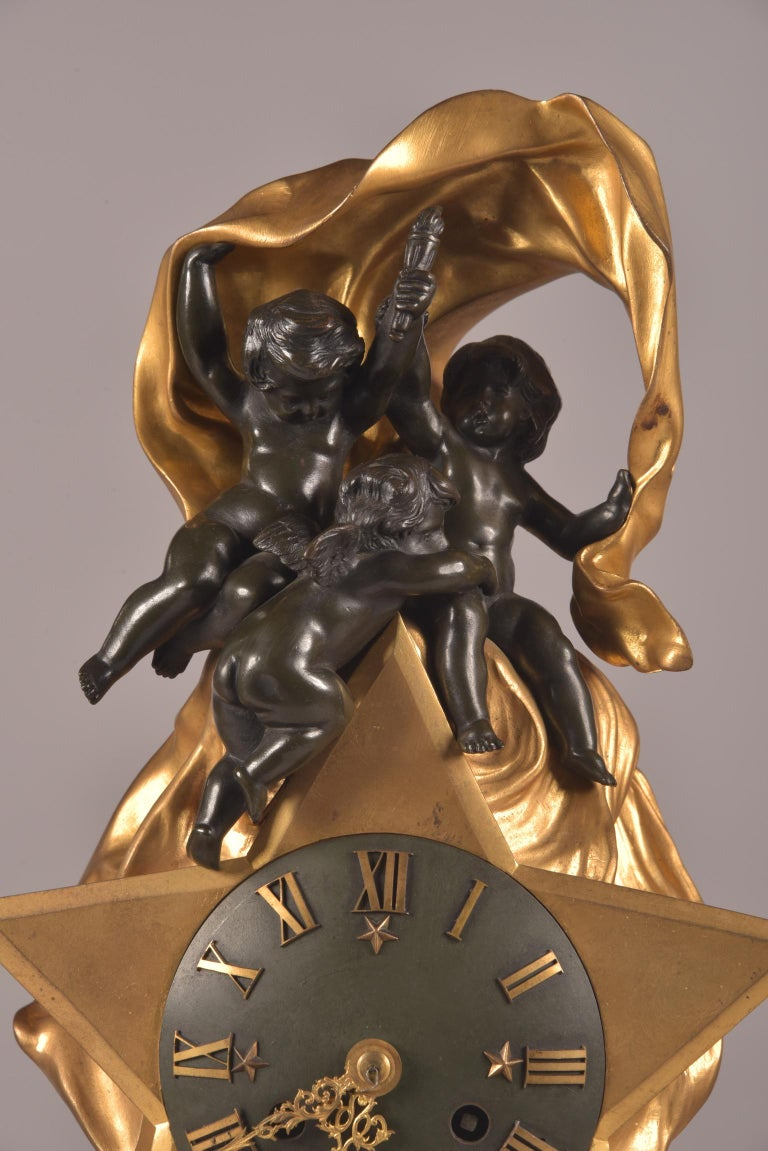 19th Century Stylish Cupido Clock Set, Gilt & Patinated Brons and White Marble, Napoleon III For Sale