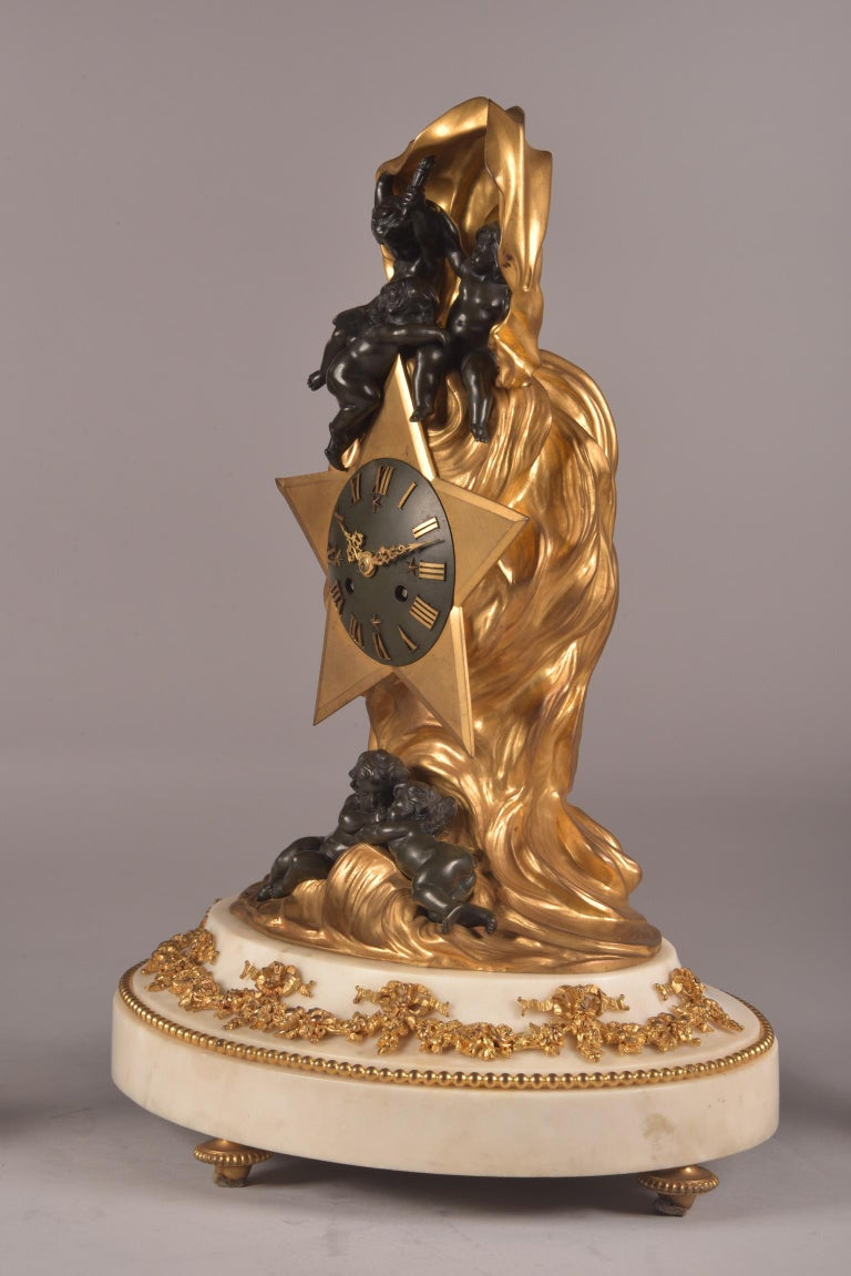 Stylish Cupido Clock Set, Gilt & Patinated Brons and White Marble, Napoleon III For Sale 4