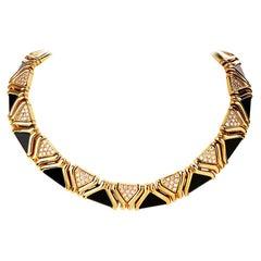 Stylish Diamond Onyx 18 Karat Yellow Gold Choker Necklace