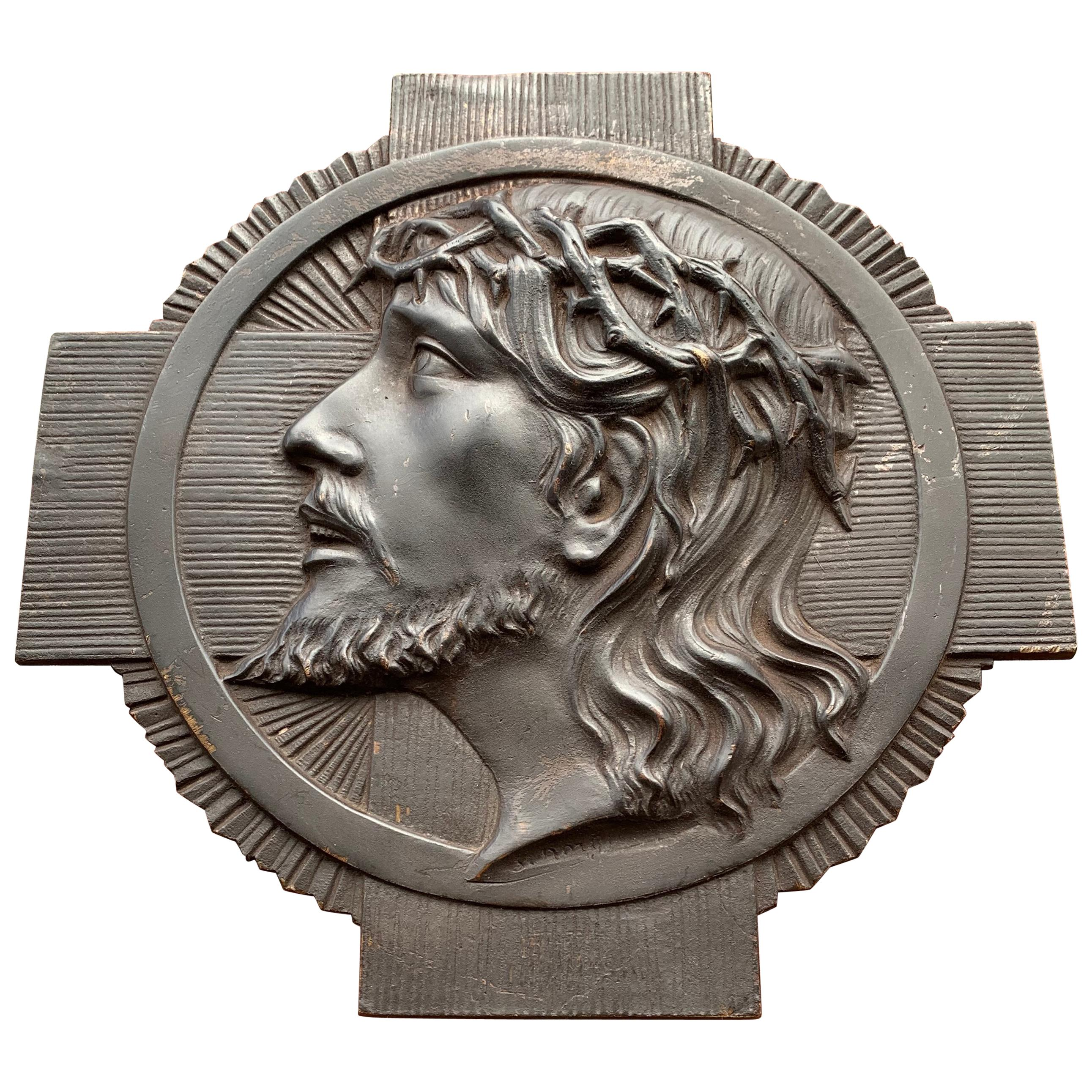 Stylish Early 1900s Art Deco Bronze Wall Plaque of Jesus Christ by S. Norga