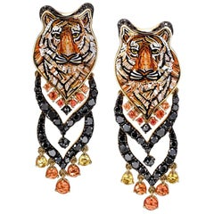 Stylish Earrings Gold Black Diamonds Sapphires Hand Decorated with Micro Mosaic