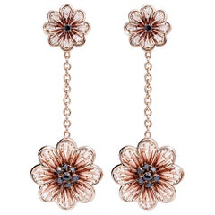 Stylish Earrings Rose Gold Black Diamonds Hand Decorated with Micro Mosaic