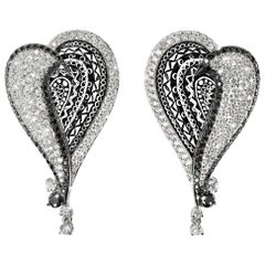 Stylish Earrings White and Black Diamonds White Gold Hand Decorated Micromosaic