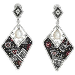 Stylish Earrings White and Black Diamonds White Gold Pearl Decorated Micromosaic