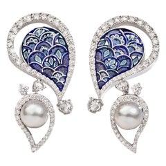 Stylish Earrings White Gold White Diamonds Blue Japanese Akoya Pearls NanoMosaic