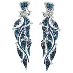 Stylish Earrings White Gold White Diamonds Blue Sapphires Decorated Nano Mosaic