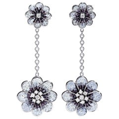 Stylish Earrings White Gold White Diamonds Hand Decoated with Micro Mosaic