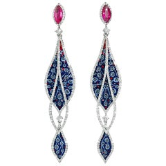 Stylish Earrings White Gold White Diamonds Ruby Hand Decorated with NanoMosaic