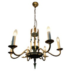 Stylish Empire Revival Six-Light Pendant Chandelier with Swan Heads and Arrows