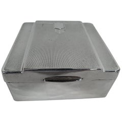 Stylish English Art Deco Modern Sterling Silver Box