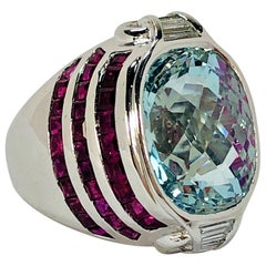Stylish Faceted Aquamarine, Ruby and Diamond Ring Set in White Gold