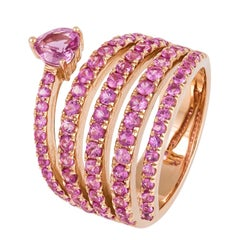 Stylish Fashionable Pink Sapphire Statement Rose Gold Ring for Her