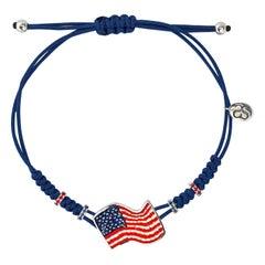 Stylish Flag Bracelet White Gold Orange and Blue Sapphires Decorated Micromosaic