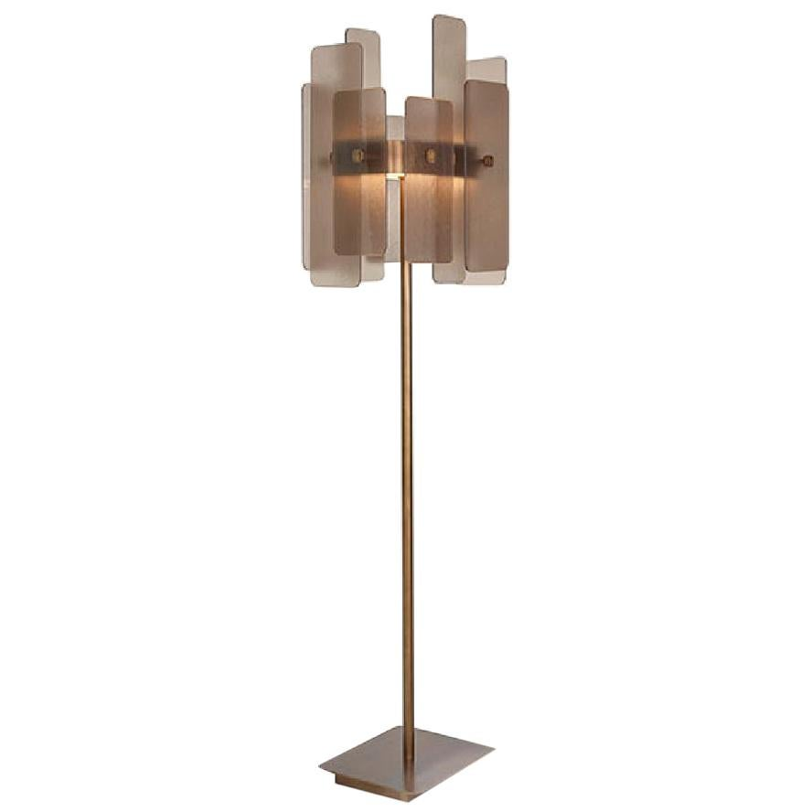 Stylish Floor Lamp Brass Frame Champagne or Antique Bronze Finishes