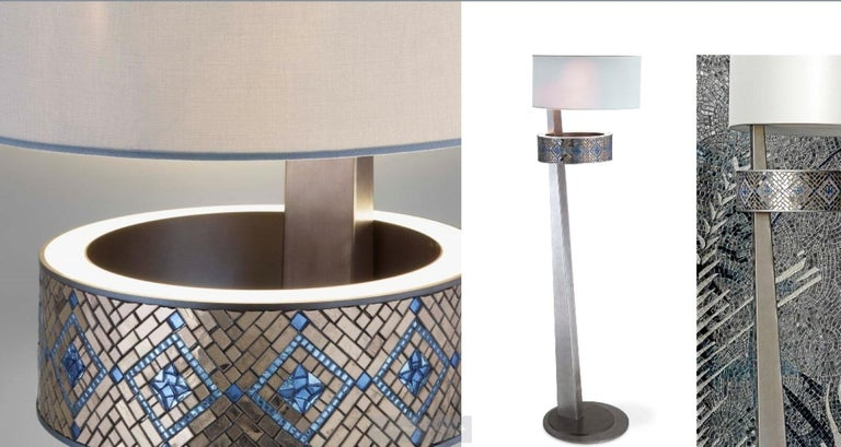 Modern Stylish Floor Lamp Metal Structure Antique Silver or Bronze Finish For Sale