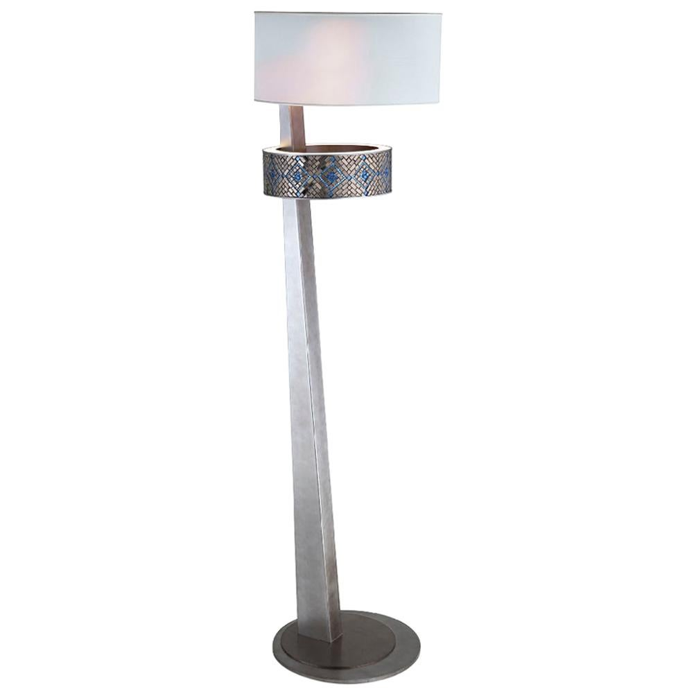 Stylish Floor Lamp Metal Structure Antique Silver or Bronze Finish