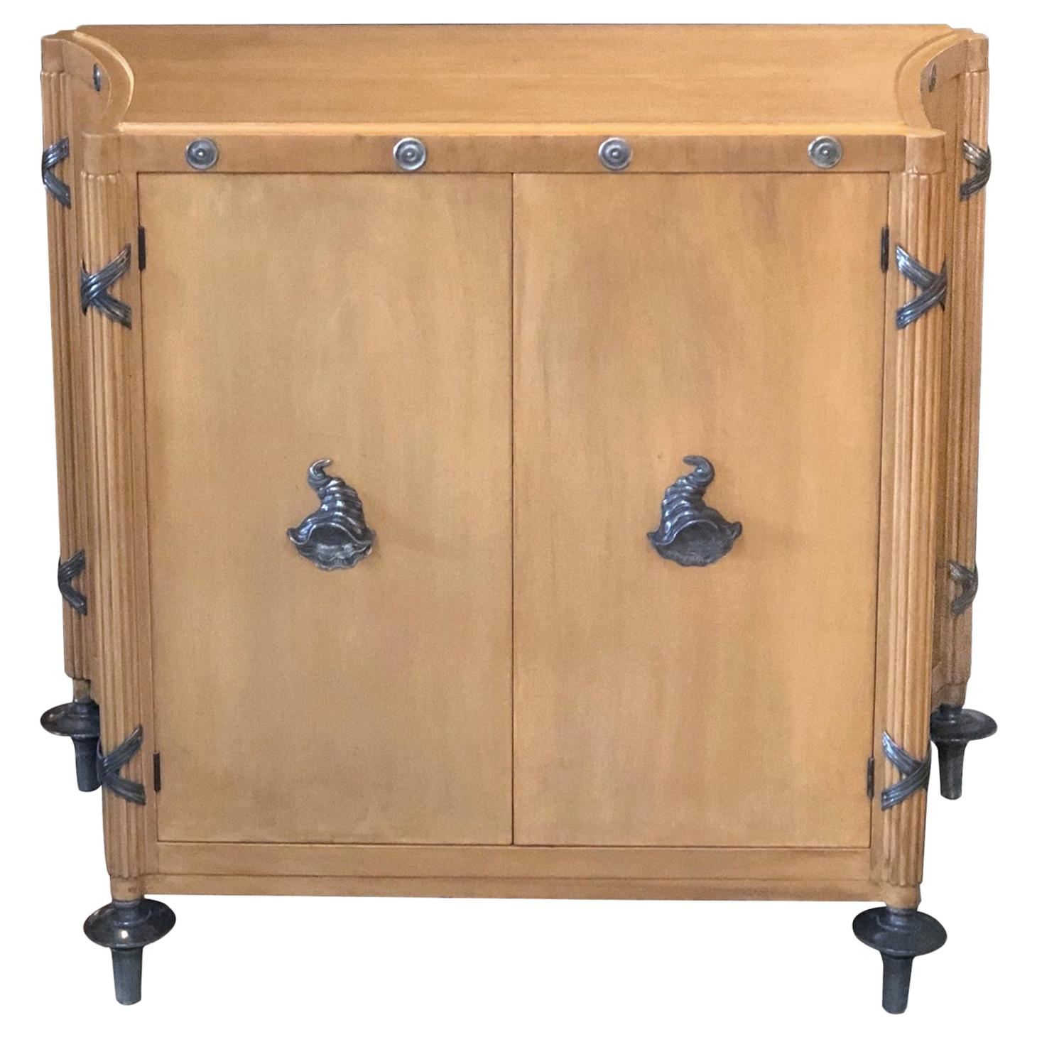 Stylish French 1940s Sycamore 2-Door Cabinet with Pewter Mounts