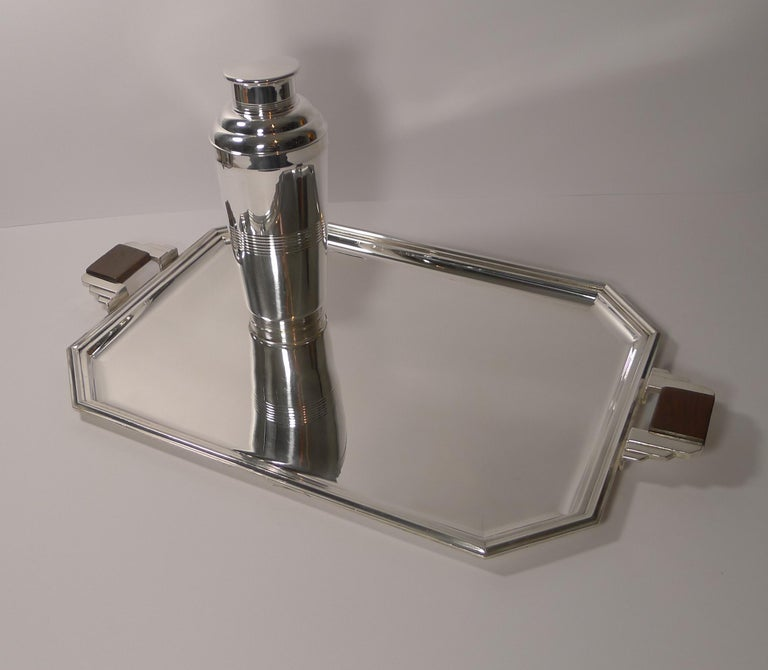 Stylish French Art Deco Cocktail Tray in Silver Plate, circa 1930s For Sale 7